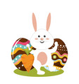 rabbit easter with decorated eggs and carrot vector image vector image