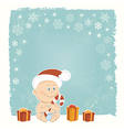 Retro Christmas card with baby Santa vector image vector image