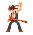 rock musician with long hair in leather clothes vector image vector image