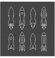 rocket icon and rocket silhouette set vector image vector image