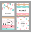Set with cute decorative cards for birthday vector image vector image