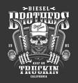 skull trucker print vector image vector image