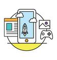 smart phone game media contentt 3d vector image