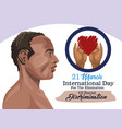 stop racism international day poster with afro man vector image vector image