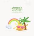 summer 3d banner design realistic render scene vector image vector image