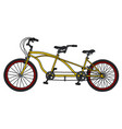 the yellow tandem bicycle vector image vector image