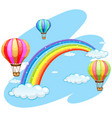 three balloons flying over the rainbow vector image