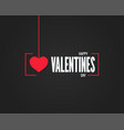 valentines day logo on black background vector image