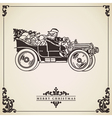 Vintage Christmas card Santa Claus driving vector image