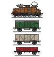 Vintage electric cargo train vector image vector image