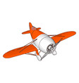 white and red old retro plane on white background vector image