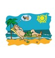Workaholic on vacation worrying about work vector image vector image