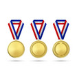 3d realistic gold award medal icon set with vector image