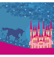 abstract image of a pink castle and unicorn vector image vector image