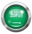 Arab Saudi flag metal button vector image