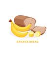 bakery product banana bread with bananas flat