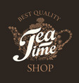 banner on a tea theme with teapot and herbs vector image