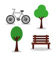 bicycle and bench tree park elements image vector image