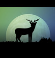 big moon in the night sky deer silhouette vector image vector image