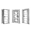 black-and-white front door isolated sketch set vector image