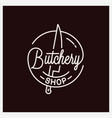 butchery lettering logo round linear knife vector image vector image