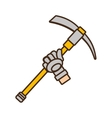 cartoon pickaxe tool mining extraction glove vector image vector image