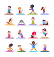 children in yoga poses cartoon fitness kids in vector image vector image