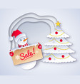 christmas sale snowman vector image vector image