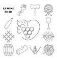 collection wine icons vector image vector image