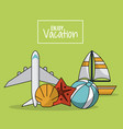 colorful poster of enjoy vacation with airplane vector image