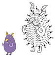 connect the dots and draw a cute monster vector image vector image