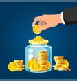 donate money man hand putting golden coin vector image
