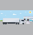 electro gas station with truck on background eco vector image vector image