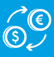 euro dollar euro exchange icon white vector image vector image