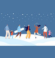 festive winter people happy holiday christmas vector image vector image