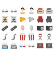 films and cinema cartoonmonochrom icons in set vector image vector image