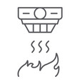 fire detector thin line icon alarm and equipment vector image vector image