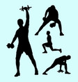 Fitness and weight lifting sport silhouettes