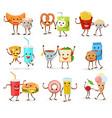 food kawaii cartoon expression characters vector image