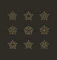 geometric star icons logos set vector image vector image