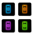 glowing neon setting on smartphone screen icon vector image vector image