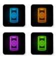 glowing neon setting on smartphone screen icon vector image