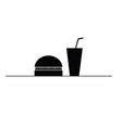 hamburger and juice in a glass black and white vector image vector image