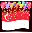 Happy birthday balloons with singapore flag vector image