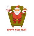happy new year cartoon santa drink tea with vector image