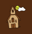 haunted house and full moon with ghosthorror vector image