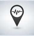 heart beat icon black map pointer vector image