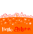 Hello autumn inspirational quote with landscape vector image vector image