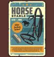 horse stable elite jockey school grunge poster vector image vector image
