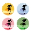 icon with sun and palm trees vector image